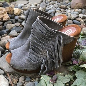 Sbicca Vintage Collection Suede Fringe Wedges